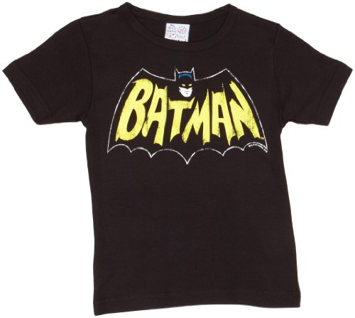 T-shirt per bambini batman - il pipistrello - maglia per bambini dc comics - batman - bat - il supereroe - maglietta girocollo di logoshirt - batman - il pipistrello - nero - design originale concesso su licenza, taglia 104/116, 4-6 anni