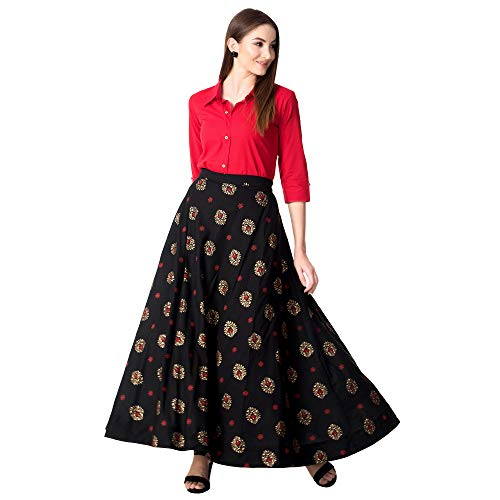 Khushal K Women's Rayon Party Wear Top With Long Skirt Set