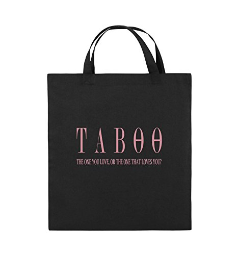 Comedy Bags - TABOO - LOGO2 - Jutebeutel - kurze Henkel - 38x42cm - Farbe: Schwarz / Pink Schwarz / Rosa