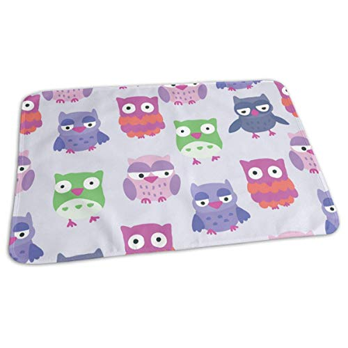 Voxpkrs Colorful Cartoon Owl Portable Changing Pad,Reusable Unisex Baby Soft Changing Mat with Reinforced Seams
