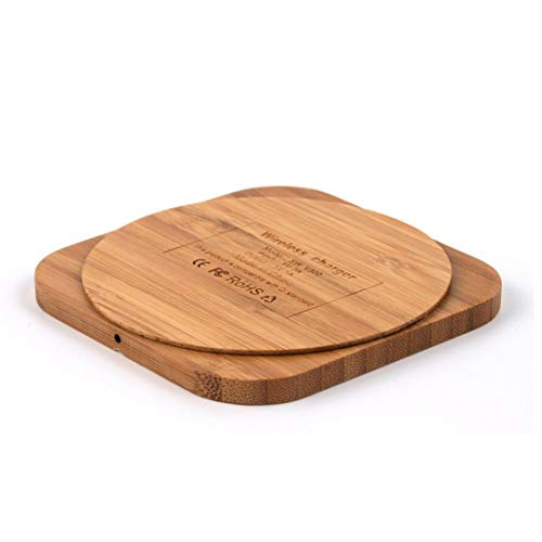 Produktbild Jamicy® Wireless Charger Qi Ladepad mit Slim Holz Ladegerät Dock Mat für Samsung Note9 S9 S8 Plus S7 S6 Edge Hinweis 9 8, iPhone X, 8 Plus, Google Nexus, alle Qi-Standard-kompatible Geräte