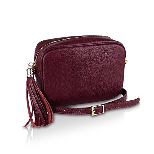 Glamexx24 Borsa vera Palle da Donna a mano , Casual Borsetta a tracolla, elegante Clutch Made in Italy 1.008 1.008.5 Rosso Vino
