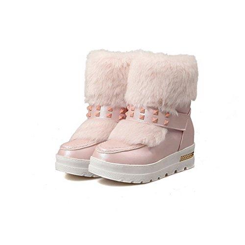 VogueZone009 Damen Rein Mittler Absatz Rund Zehe Pu Leder Ziehen Auf Stiefel Pink