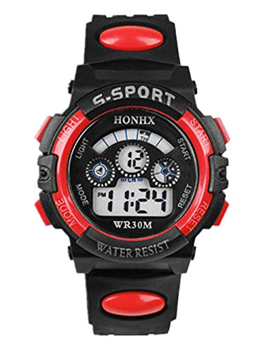 Kinderuhr Wasserdichtes Quarz-Alarm-Datums-Sport-Armbanduhr-Blau des Kinderjungen-Digital LED Blau Schritt ausführen Uhr Armband LED Gehweite Kalorienzähler Digital herrenuhren Uhren Herren (Rot)