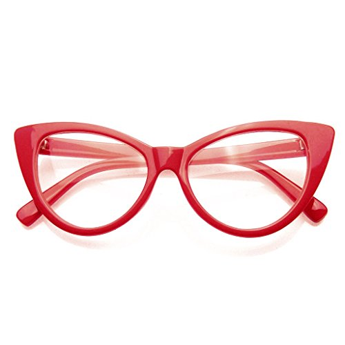 Super Cat Eye Brille Vintage-Mode Mod Clear Lens Brillen (Rot) (Cat Eye Brillen Vintage)