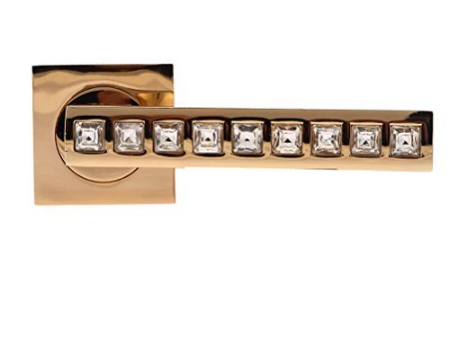 Crystal Finish (Pair of Rose Gold Designer Firenze CRYSTAL DOOR HANDLES, Lever Style, made from Glass Crystal and Satin Nickel Finish, With Fixings and Escutcheons included by Crystal & Gems UK)