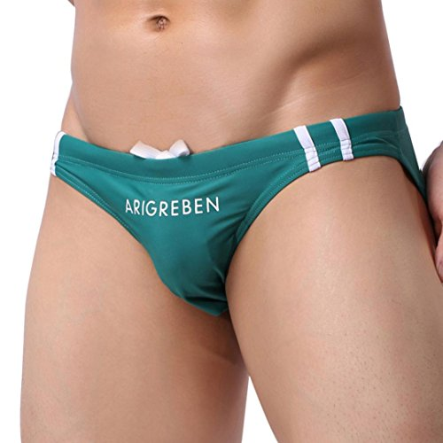 Coolster Herren Stretch Verstellbare Slips Swim Panties Dreieckige Trunks Shorts Bademode (Tag L, Grün)