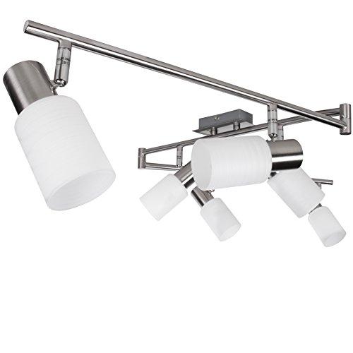 Wohnling 6-flammiger LED-Strahler, inkl. 6x4 Watt Leuchtmittel, Deckenlampe IP20 Fassung E14 LED Diele Flur, Deckenleuchte Spots Wohnzimmer Schlafzimmer Esszimmer, warmweiß