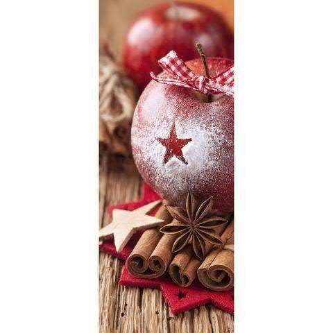Textilbanner - Thema: Weihnachten - Weihnachtsmotiv: Zimtapfel - 180cmx75cm - Banner zum Hängen & Dekorieren