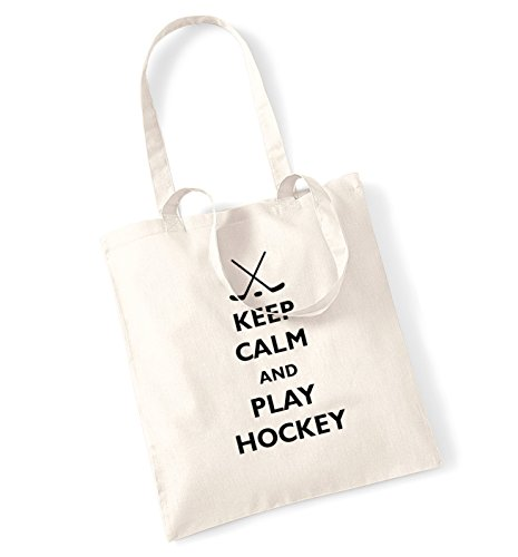 Keep Calm e Giocare Hockey Borsa Natural
