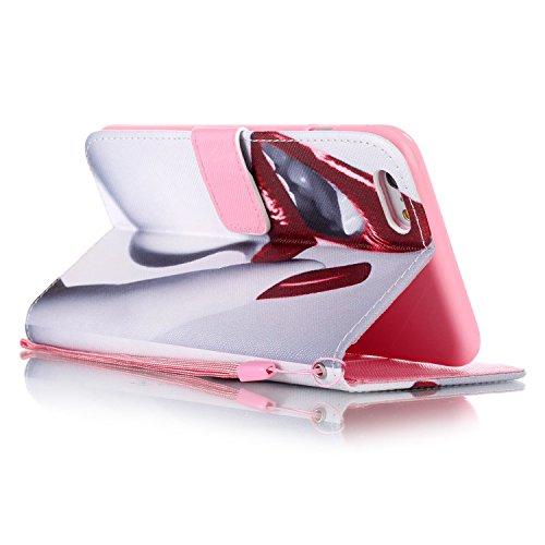 MOONCASE Étui pour iPhone 6 / 6S (4.7 inch) Printing Series Coque en Cuir Portefeuille Housse de Protection à rabat Case YB08 A08 #1117