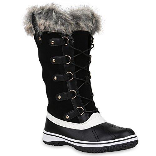 Stiefelparadies Damen Schuhe Winterstiefel Warm Gefütterte Stiefel Nieten Winter Boots 153210 Schwarz Brooklyn 41 | Flandell® (Winter-schnee-stiefel)