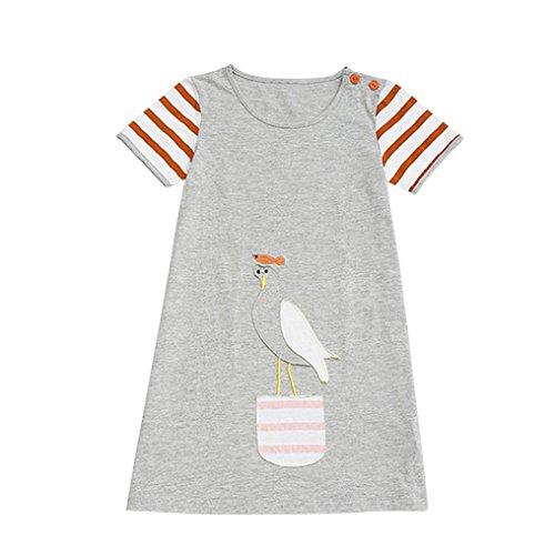 JERFER Mädchen Cartoon Vogel Druck Stickerei Streifen Kleid T-Shirt Top Bluse Kurzarm-Shirt 2- 6Jahre (Grau, 3T)