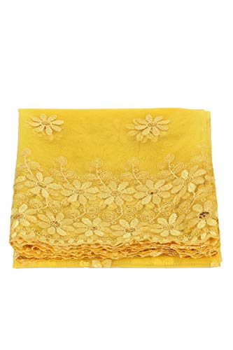 Celestial Mode Material Fabric, Imported Soft Yellow Net, with Allover Embroidery, for Dress, Gown, Saree, Bridal Lehenga, Designer Wear (1 Meter)