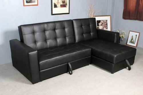 Homcom Deluxe Faux Leather Corner Sofa Bed Storage Sofabed