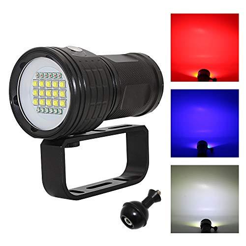 Lumière De Plongée, IPX8 Étanche 18800 Lumens Lumière De Plongée sous-Marine 80M Éclairage Photographie Dimmable avec Support De Poignée pour Autres Activités De Plein Air comme Le