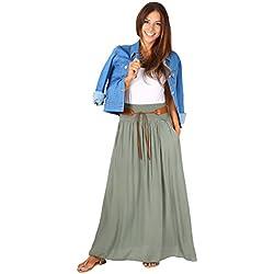 KRISP 4809-KHA-LXL, Falda Larga Bohemia Elegante Plisada Hippie Cintura Elástica, Caqui (4809), L/XL