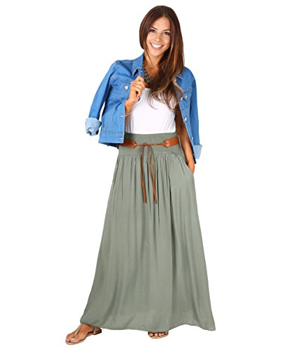 KRISP Women Tie Belted Boho Maxi Skirt Spring Beach
