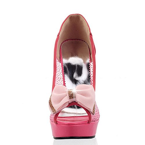 TAOFFEN Femmes Elegant Peep Toe Sandales Aiguille Talons Hauts A Enfiler Chaussures De Bowknot Rojo