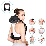 Rechargeable Neck Shoulder and Back Massager - Cordless & Handfree Design Shiatsu Massage with Heat, Adjustable Intensity at Home Office Car - Naipo