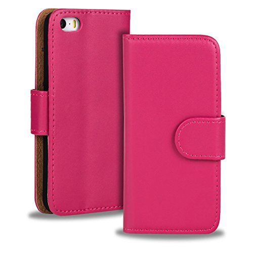 iPhone 5C Cover Schutzhülle im Bookstyle aufklappbare Hülle aus PU Leder Farbe: Weiss Pink