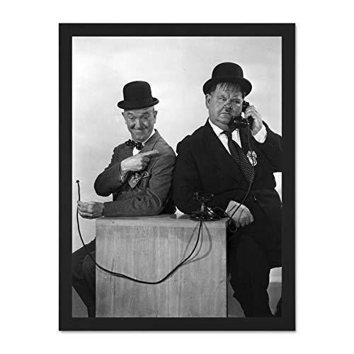 Doppelganger33 LTD Vintage Portrait Stan Laurel Oliver Hardy Comedians Large Framed Art Print Poster Wall Decor 18x24 inch Supplied Ready to Hang Vintage Laurel