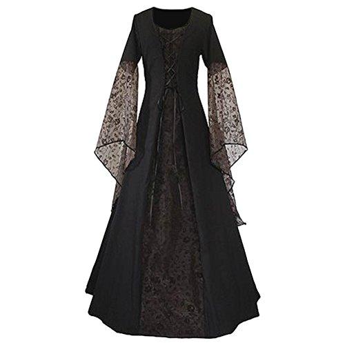 elalter Kleid, Mittelalter Kostüm Renaissance Kleid mit Spitze, Schnüren Sich Vintage Bodenlang Kleid L (Renaissance Festival Kostüme)