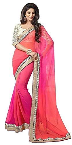 Navabi Export Girls Georgette Saree With Blouse Piece (Monika Orange_Orange_Free Size)