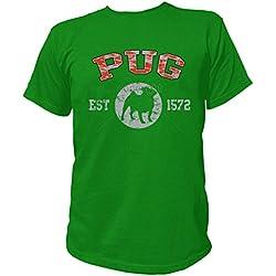 Artdiktat T-Shirt Camiseta para hombre - PUG - OLD SCHOOL Est. 1572 Größe S, grün