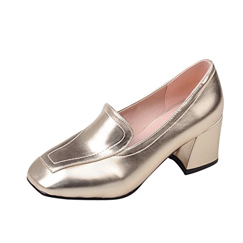 Mee Shoes Damen modern populär vierkant dicker Absatz Geschlossen Shallow Mund Pumps Freizeitschuhe Gold