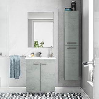 Mueble Baño con Espejo Moderno, Columna Incluida + Grifería Incluida, Color Gris Cemento