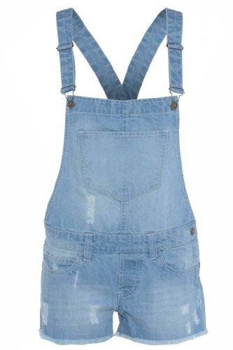 Fashion Oasis Damen Overall, Einfarbig Blau Denimblau