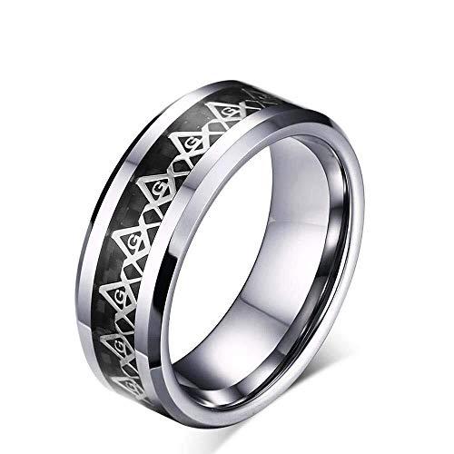 Kangruandi Herren Wolfram Stahl Modeschmuck Ring Comfort Fit Überzug Ring (Color : Schwarz, Größe : US#12) (Wolfram-frauen-verlobungsring)