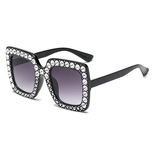 Olprkgdg Quadratischer Rahmen mit Diamant-Sonnenbrillen Unisex-Mode Bunte Sonnenbrillen zum Fahren (Color : F)