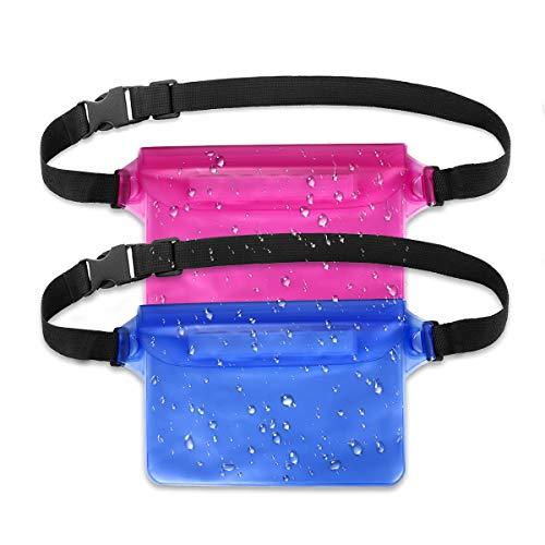 HAISSJKY Bolsa Impermeable con Correa de Cintura Pantalla Sensible Touchable Bolso Seco para Objetos de Valor Teléfono para Natación Snorkel Canotaje Pesca Kayak, Pack de 2