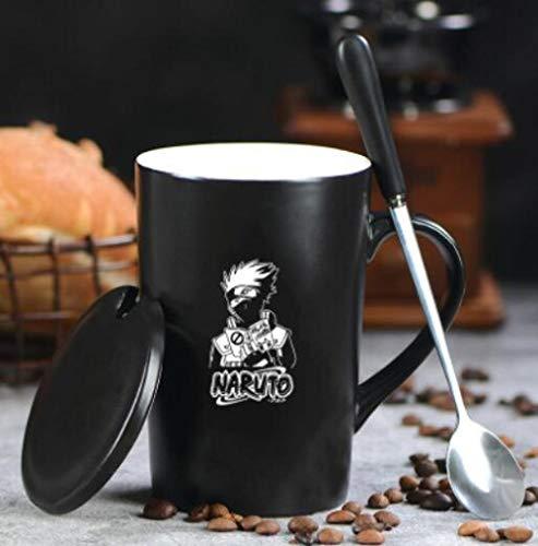 qnmbdgm Becher Tasse Naruto Kakashi Unendlichkeit Becher Reine Farbe Keramik Becher Tasse Mit Deckel Und Löffel Küche Werkzeug Geschenk