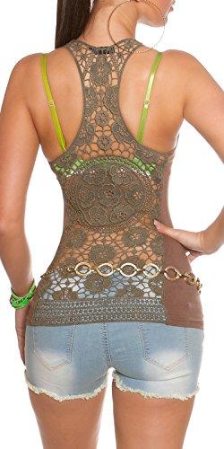 In - Stylefashion - Canotta - Gilet Top - Collo a U  -  donna Brown