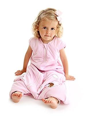 Slumbersac - Saco de dormir infantil (bambú, con pies, ligeramente forrado, 1 tog, 3-4 años, 110 cm), diseño de erizo, color rosa