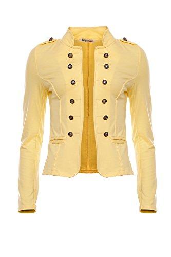 Mayaadi 6069 Damen Jacke Blazer kurz Admiral Uniform Mantel mit Military Knopfleiste (Marine Pilot Kostüm)