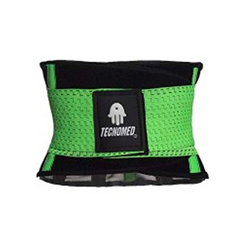 Color Verde Tecnomed Cintur/ón Abdomen//Faja Reductora Lumbar Deportiva Fitness y Protector de Columna Unisex para Rehabilitaci/ón del Dolor