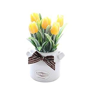 bismarckber – Corbata de tulipán Artificial para decoración del hogar o la Oficina, plástico, Blanco, Talla única