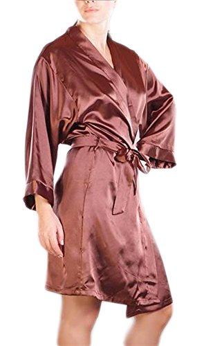 Morgenmantel Bademantel Damen Kimono Satinmantel kurz weich seidig ...