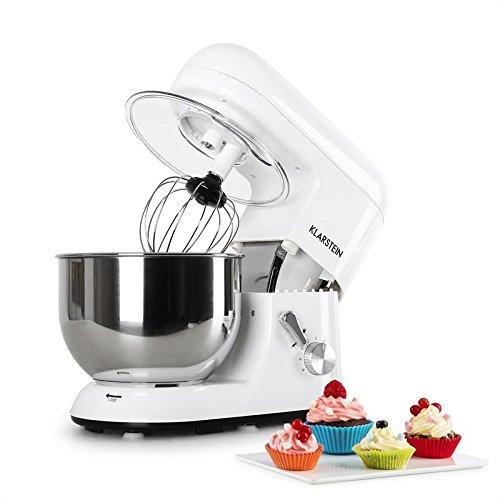 Klarstein TK1 Bella Bianca Robot de Cocina • Multifunción • Batidora, Picadora, Amasadora • Bol 5,2 L • 1200 W • Acero Inoxidable • Blanco