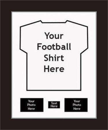 FRAME FOR FOOTBALL SHIRT, RUGBY, CRICKET, T-SHIRT *INCLUDES SHIRT INSERT* | with 2 opening for Photos and 1 opening for Message| Any Sports