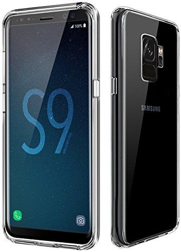 vau Hybrid Schutzhülle passend für Samsung Galaxy S9 - Hülle transparent Handy Schutz-Tasche kombiniert Hard-Case mit Silikon Bumper (einteilig Clear) (Case Handy Hard)