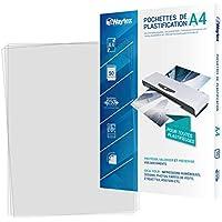 Waytex Pack 50 Feuilles de plastification A4 épaisse 125 Microns Finition Brillante Transparente