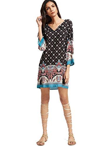 ROMWE Damen Kurzarm Casual Bohemian Sommerkleid mit Paisley Aufdruck Schwarz