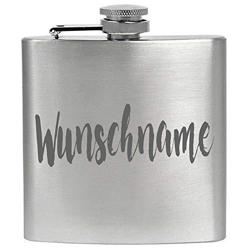 Personalisierter Flachmann mit Gravur 6 oz Edelstahl Metall Individueller Wunschname Wunschgravur mit Namen