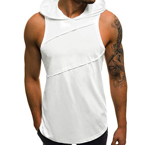 JMETRIC Arbeiten Sie wildes Sportliches Beiläufiges Laufendes mit Kapuze Armelloses Hemd 4 Farben(Weiß,L)