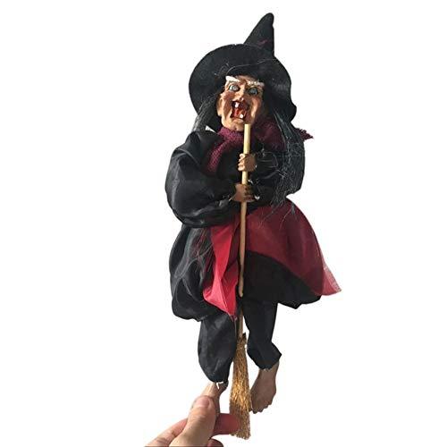 Blaward Halloween Dekorationen Hexenbesen mit Sound & leuchtenden roten Augen Halloween Spooky Hexe Dekorationen